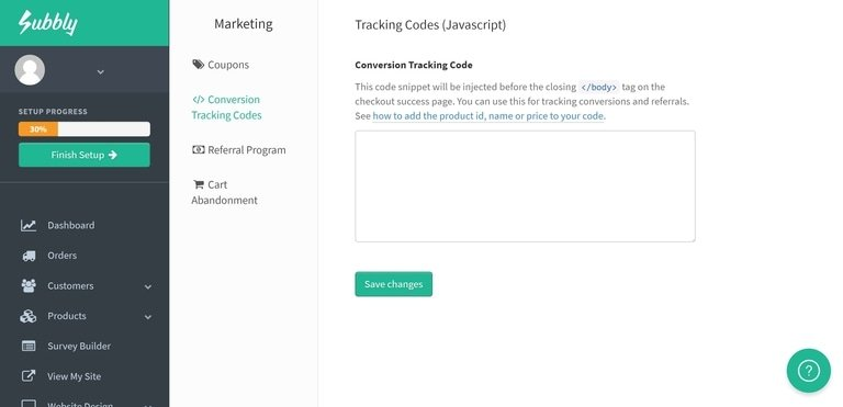 Subbly Tracking Code