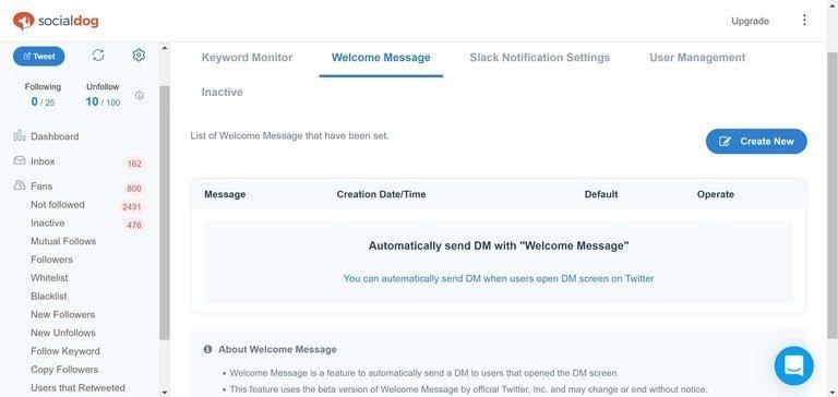 SocialDog Welcome Message
